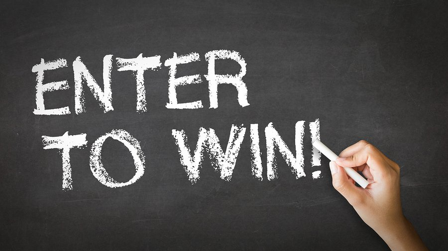 Enter to win on chalkboard