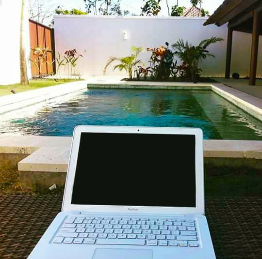Work-From-Home - by the pool