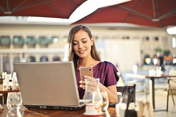 Jump-Start-Your-Business - Woman in cafe on computer
